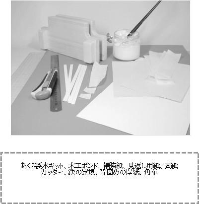 クルミ製本角布固め法に必要な道具・材料